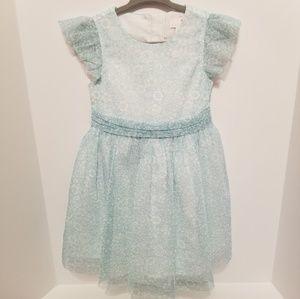Lularain Blue and White Floral Chiffon Dress 2T